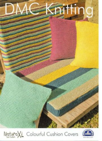 DMC Natura XL Knitting Pattern. Colourful Cushion Cover